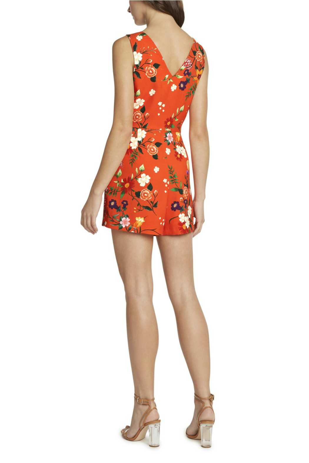 willow and clay Yara Floral Wrap Romper - Front Full Image