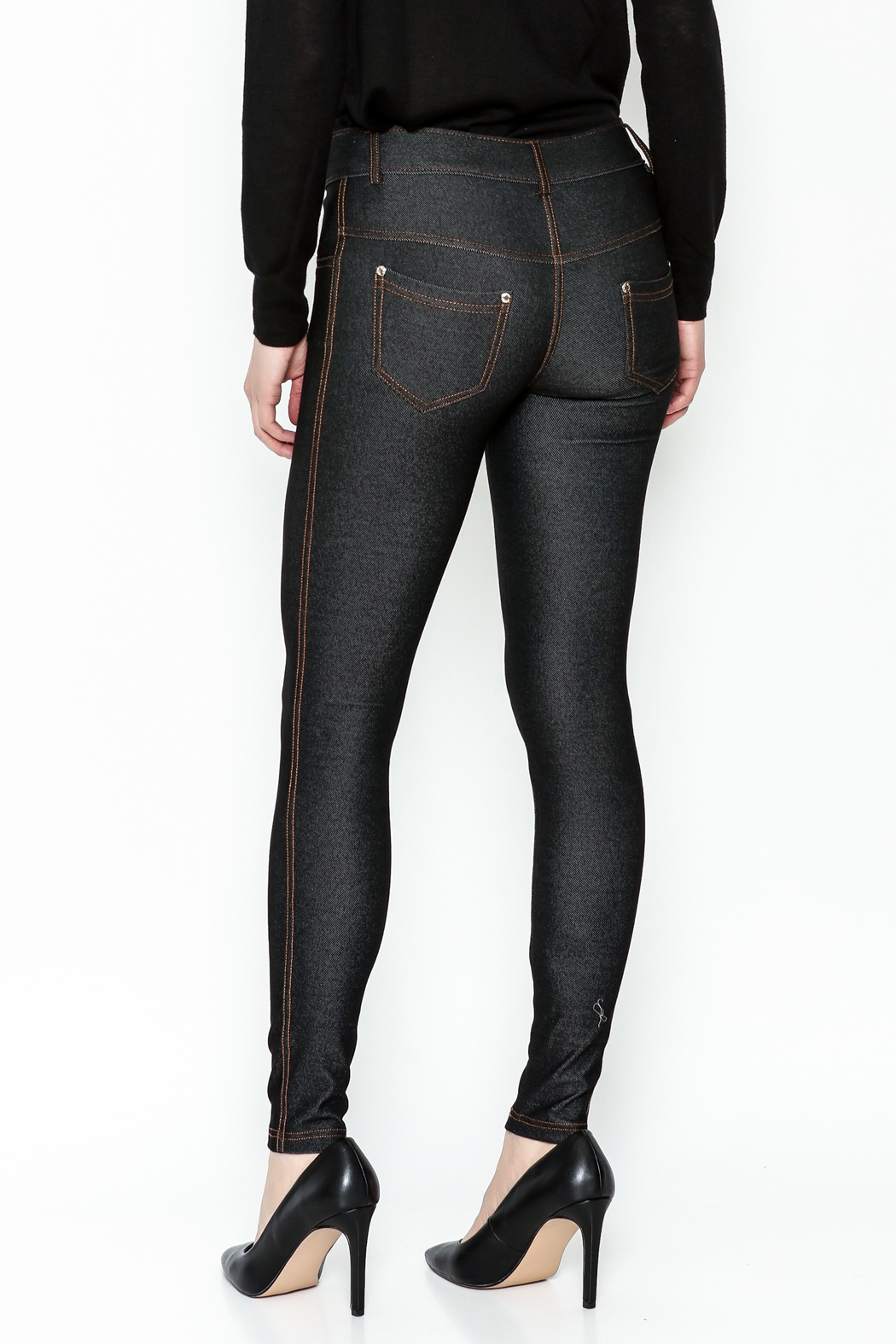 Yelete Black Jeggings - Back Cropped Image