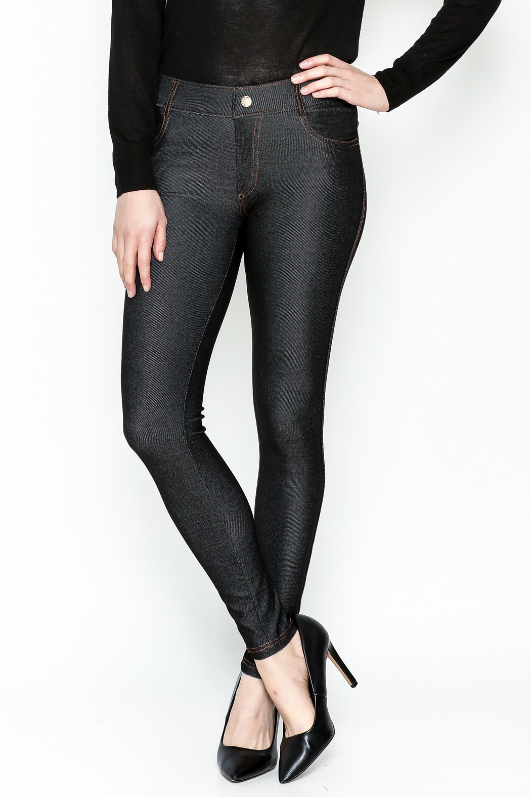Yelete Black Jeggings - Front Cropped Image