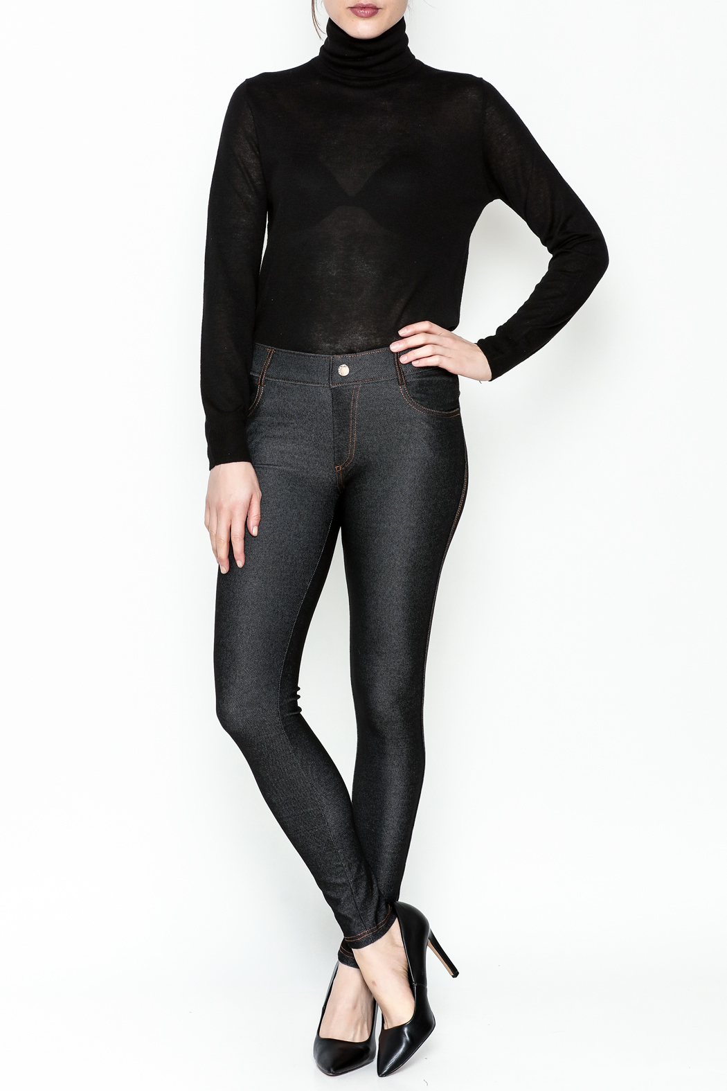 Yelete Black Jeggings - Side Cropped Image