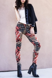 Yelete Velour Plaid Leggings - Product Mini Image