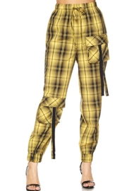 TIMELESS Yello Plaid Joggers - Product Mini Image