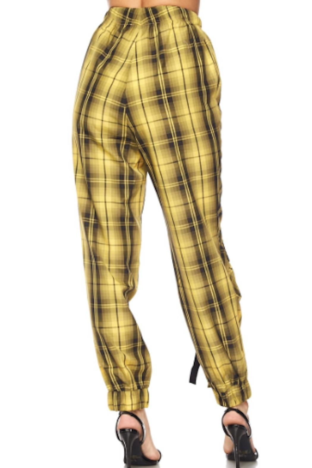 TIMELESS Yello Plaid Joggers - Side Cropped Image