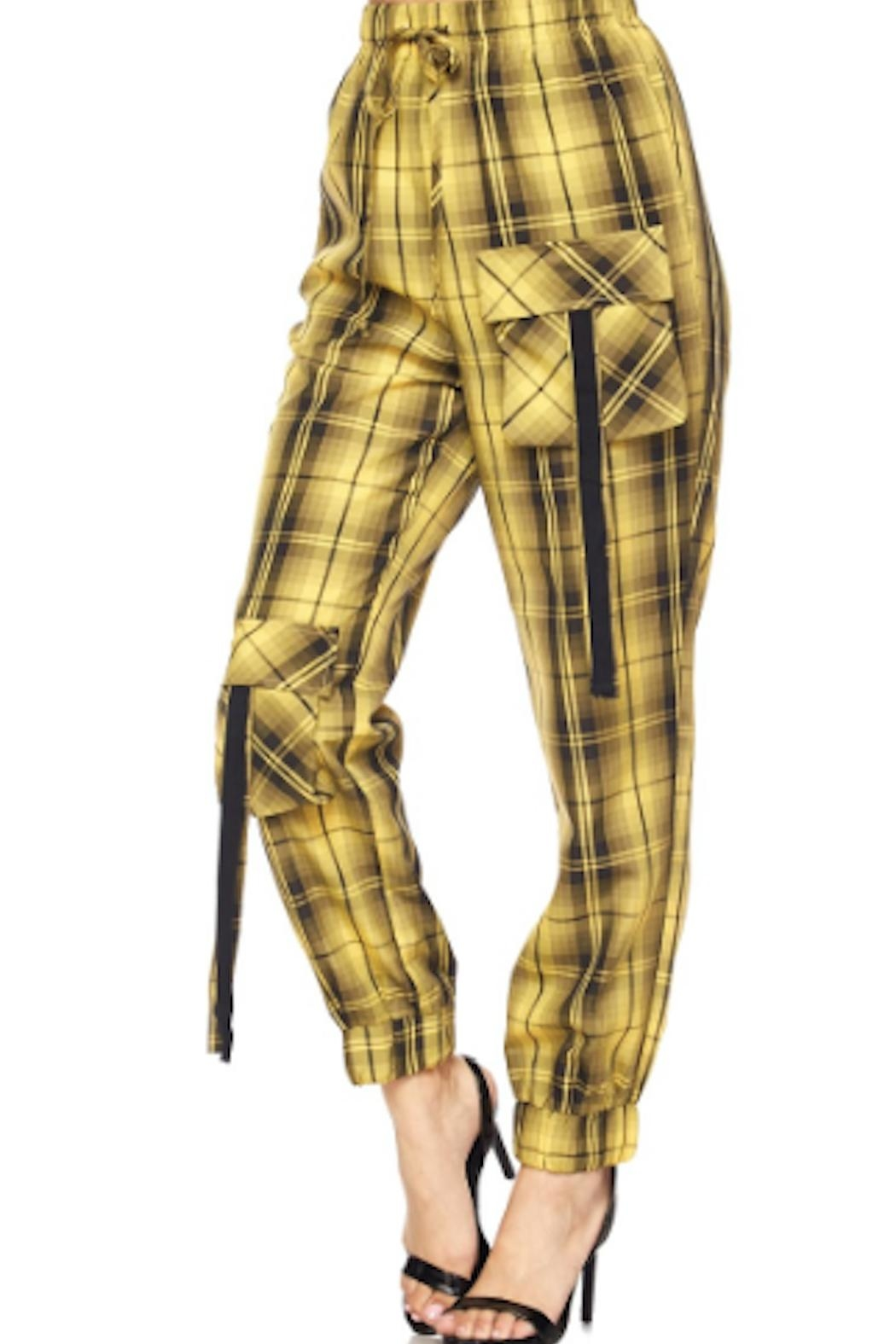 TIMELESS Yello Plaid Joggers - Front Full Image