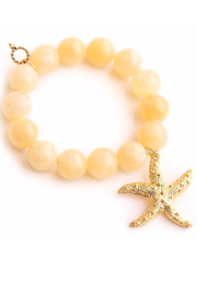 Powerbeads by Jen Yellow Agate with Gold Starfish - Product Mini Image