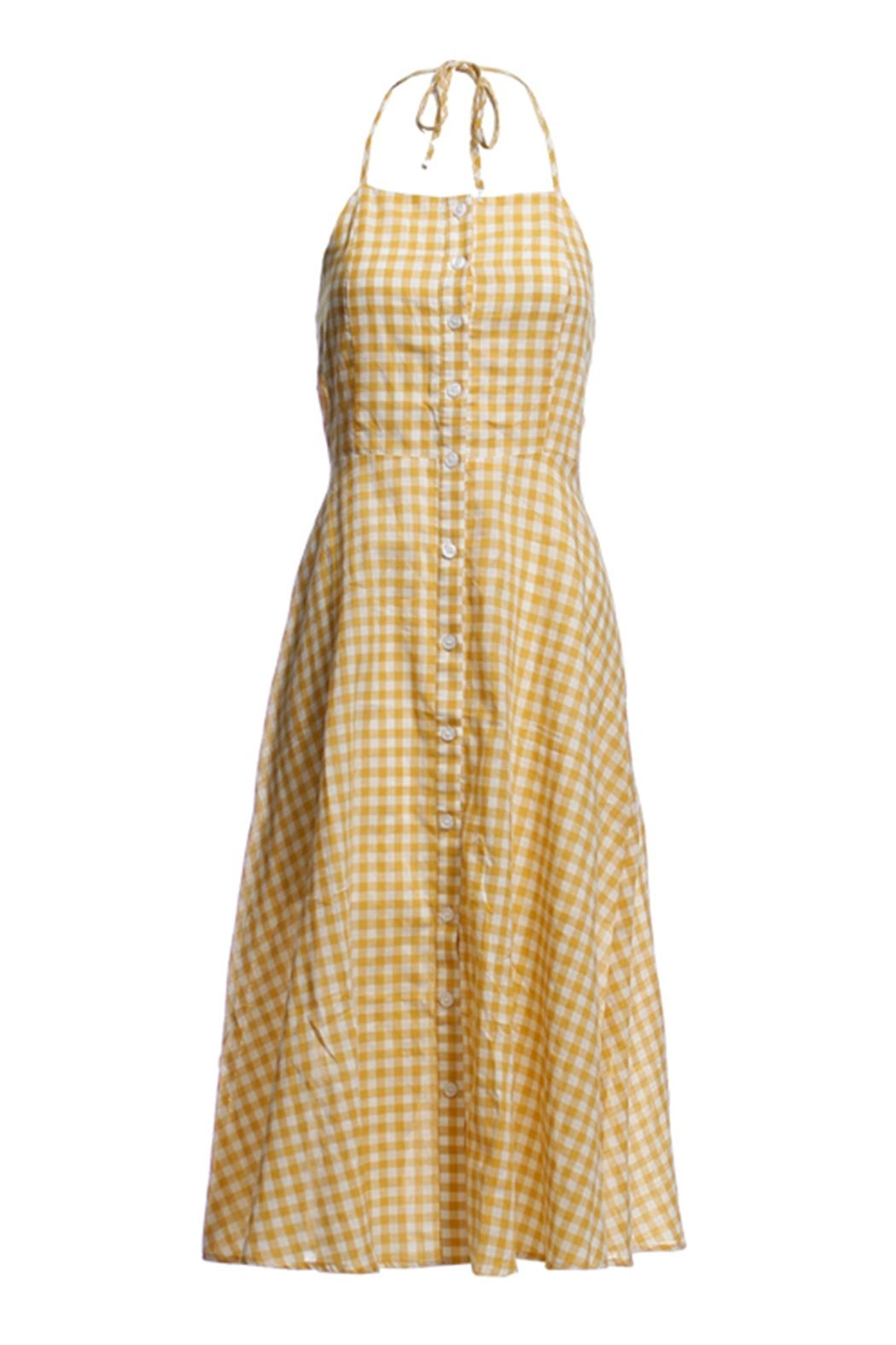Renamed Clothing Yellow Check Dress - Front Cropped Image