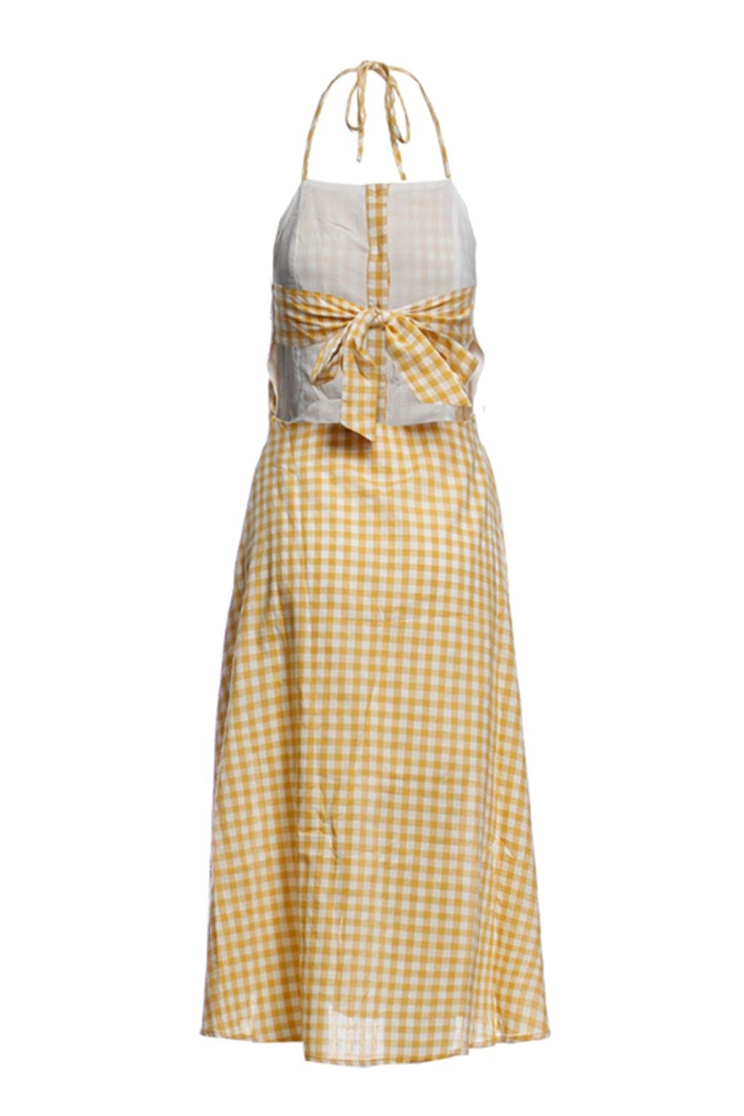 Renamed Clothing Yellow Check Dress - Front Full Image