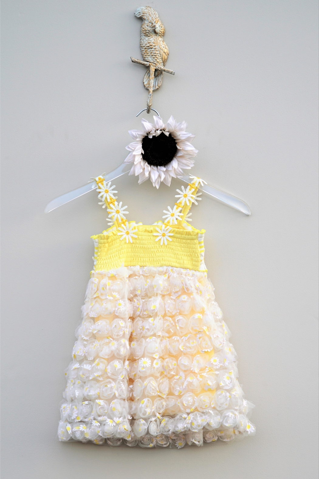 Baby Sara Yellow Daisy Dress - Back Cropped Image