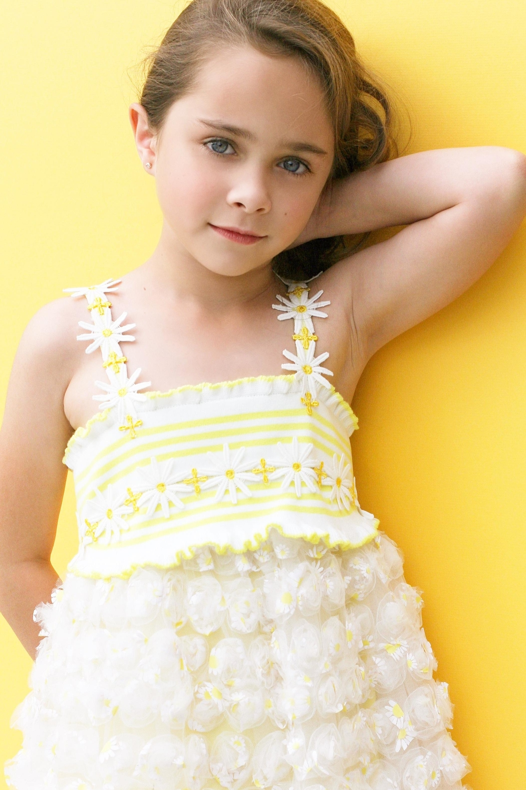 Baby Sara Yellow Daisy Dress - Front Full Image