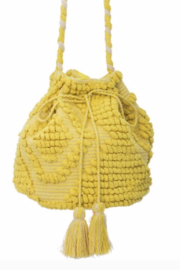 Guadalupe Design Yellow Drawstring Bag - Front cropped