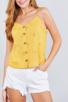 Active Basic Yellow Eyelet Cami - Product List Image
