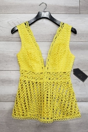 Mad For Love Yellow Eyelet Top - Product Mini Image