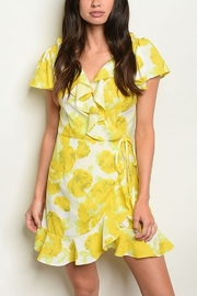 Lyn -Maree's Yellow Faux Wrap Dress - Product Mini Image