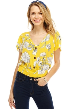 Miley and Molly Yellow Floral Blouse - Product List Image