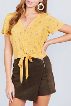 Active Basic Yellow Floral Crop-Top - Product List Image