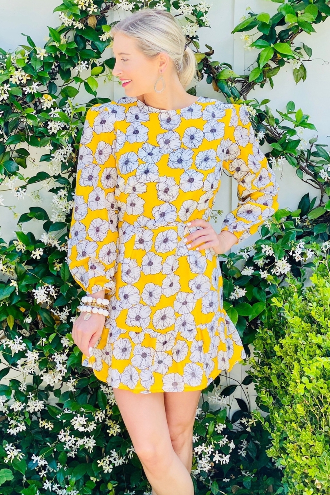Mari Max Yellow Floral Dress - Front Cropped Image