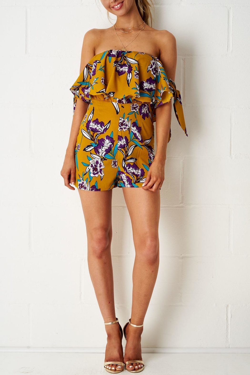 frontrow Yellow Floral Playsuit - Side Cropped Image