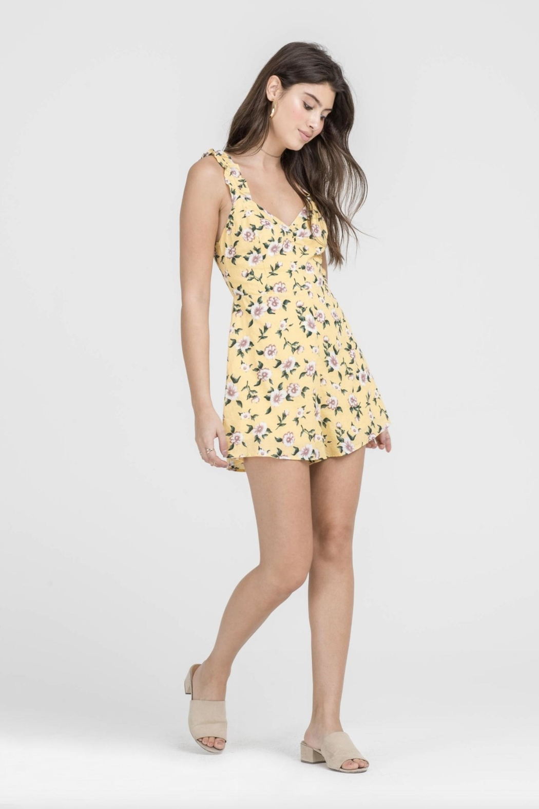 Lush Yellow Floral Romper - Front Full Image