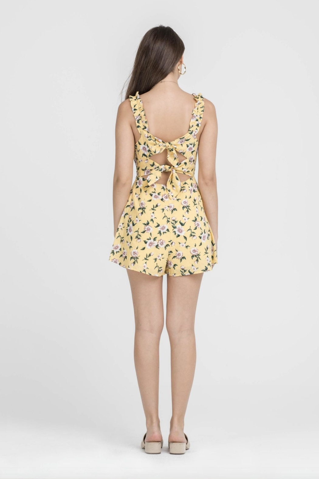 Lush Yellow Floral Romper - Side Cropped Image