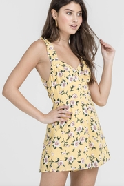 Lush Yellow Floral Romper - Front cropped