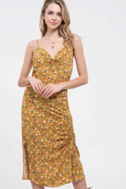 blu pepper  Yellow Floral Side Ruched Floral Midi Dress - Product Mini Image