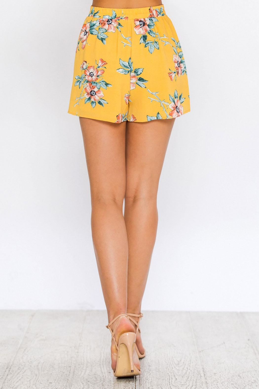 Jealous Tomato Yellow Floral Skirt - Back Cropped Image