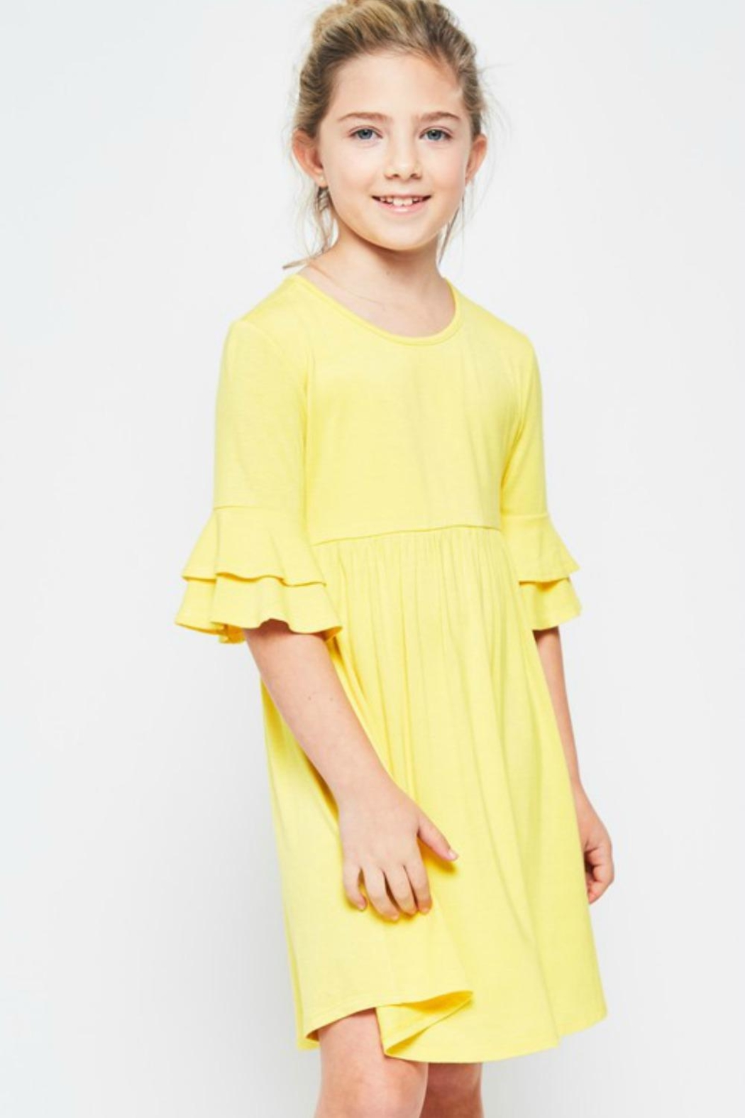 GTOG Yellow Flutter Dress - Front Cropped Image