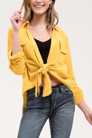 Blu Pepper Yellow Front-Tie Top - Product Mini Image