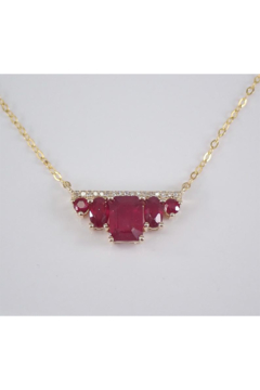 "Shoptiques Product: Yellow Gold 1.50 ct Diamond and Emerald Cut Ruby Bar Necklace Pendant 17"" Chain July Gemstone"