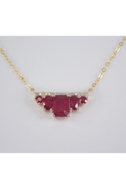 Margolin & Co Yellow Gold 1.50 ct Diamond and Emerald Cut Ruby Bar Necklace Pendant 17