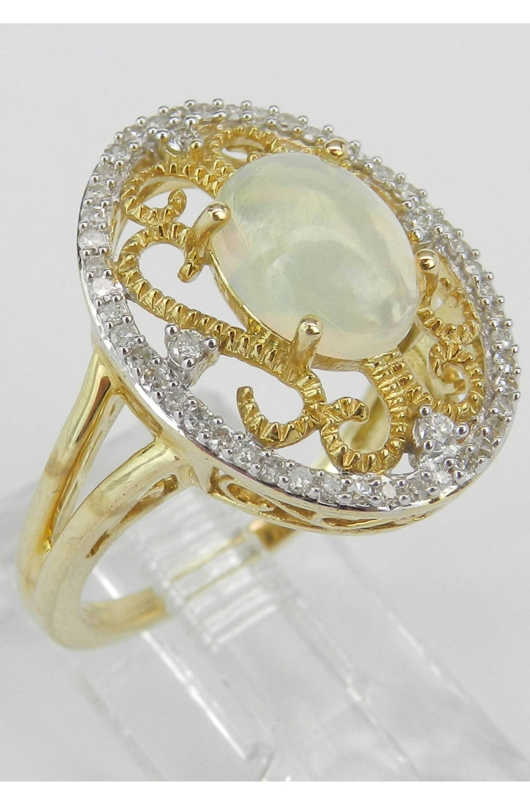 Margolin & Co Yellow Gold Diamond and Opal Ring, Diamond Halo Ring, Opal Filigree Cocktail Ring, Size 7, October Gemstone Ring - Front Full Image