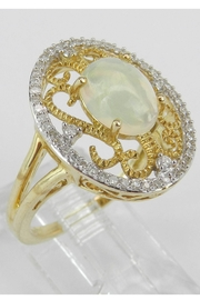 Margolin & Co Yellow Gold Diamond and Opal Ring, Diamond Halo Ring, Opal Filigree Cocktail Ring, Size 7, October Gemstone Ring - Front full body