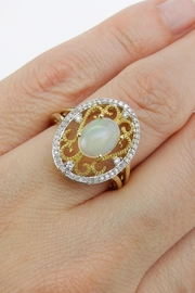 Margolin & Co Yellow Gold Diamond and Opal Ring, Diamond Halo Ring, Opal Filigree Cocktail Ring, Size 7, October Gemstone Ring - Back cropped