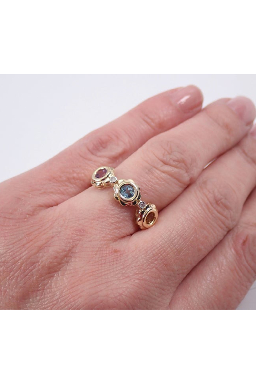 Margolin & Co Yellow Gold Multi Color Flower Wedding Ring Anniversary Band Citrine Blue Topaz Amethyst FREE Sizing - Back Cropped Image