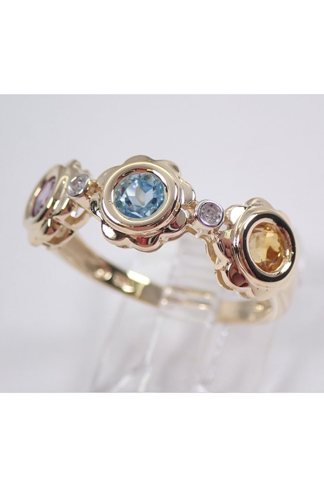 Margolin & Co Yellow Gold Multi Color Flower Wedding Ring Anniversary Band Citrine Blue Topaz Amethyst FREE Sizing - Side Cropped Image