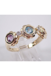Margolin & Co Yellow Gold Multi Color Flower Wedding Ring Anniversary Band Citrine Blue Topaz Amethyst FREE Sizing - Front full body