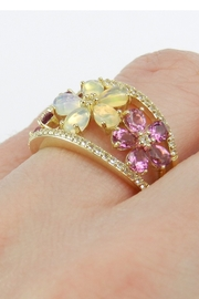 Margolin & Co Yellow Gold Opal Pink Tourmaline White Sapphire Flower Cluster Cocktail Ring Size 7 October Gem - Other