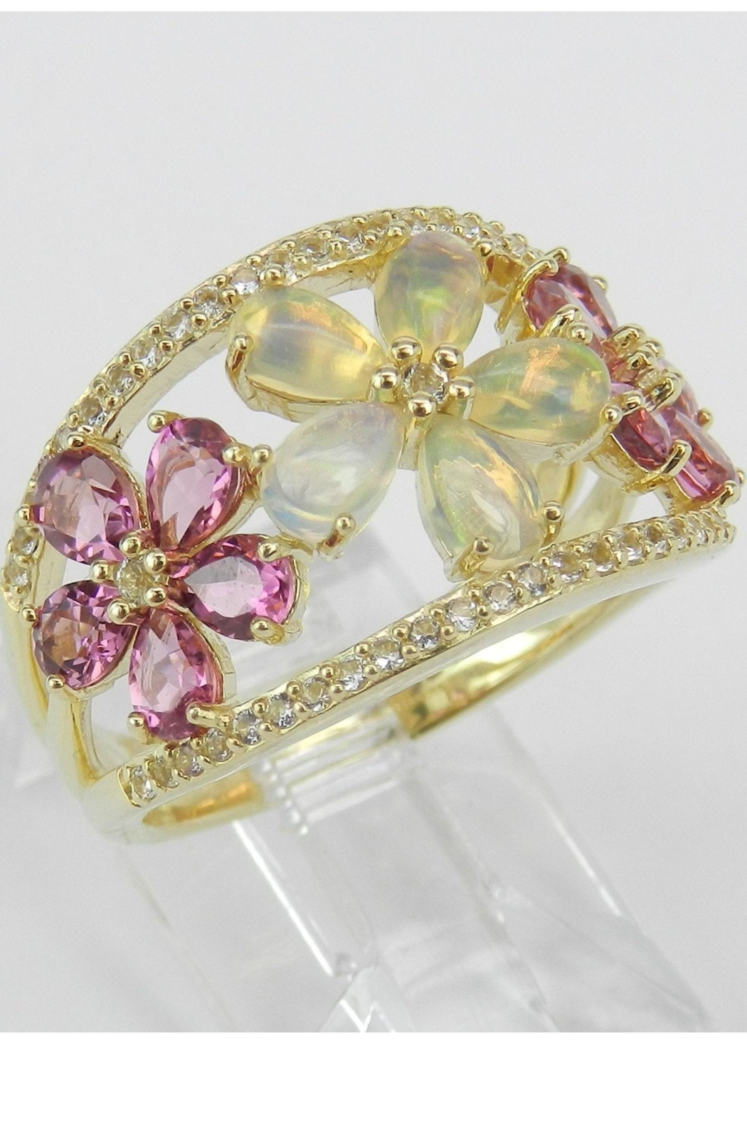Margolin & Co Yellow Gold Opal Pink Tourmaline White Sapphire Flower Cluster Cocktail Ring Size 7 October Gem - Front Full Image