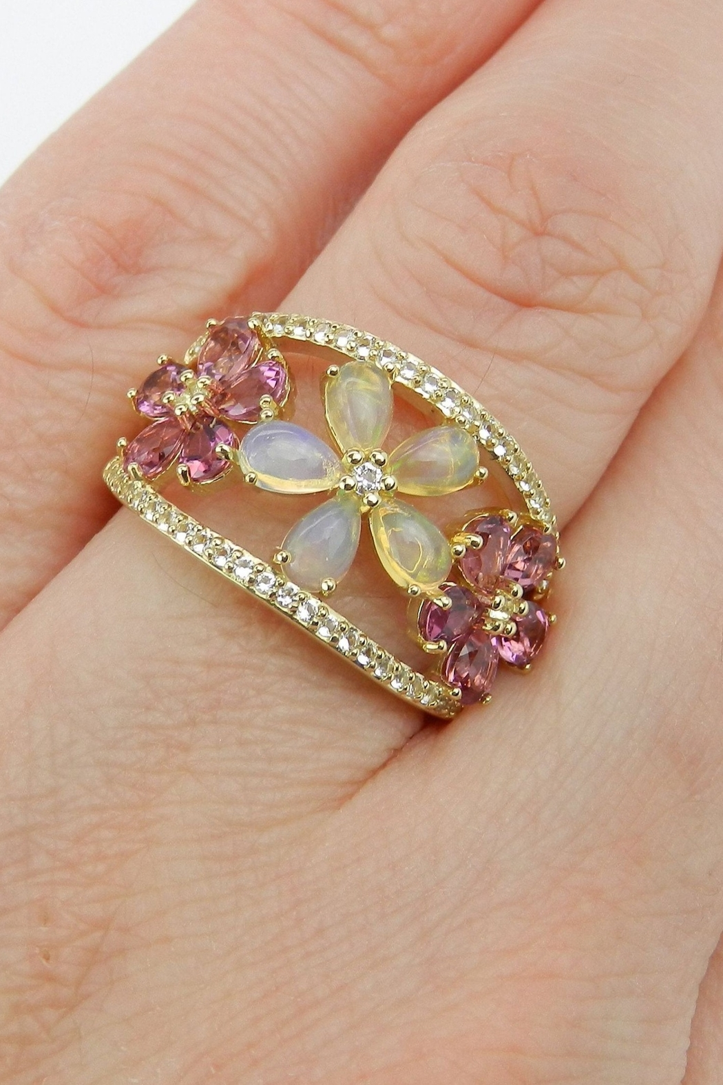 Margolin & Co Yellow Gold Opal Pink Tourmaline White Sapphire Flower Cluster Cocktail Ring Size 7 October Gem - Back Cropped Image