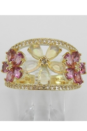 Margolin & Co Yellow Gold Opal Pink Tourmaline White Sapphire Flower Cluster Cocktail Ring Size 7 October Gem - Front cropped