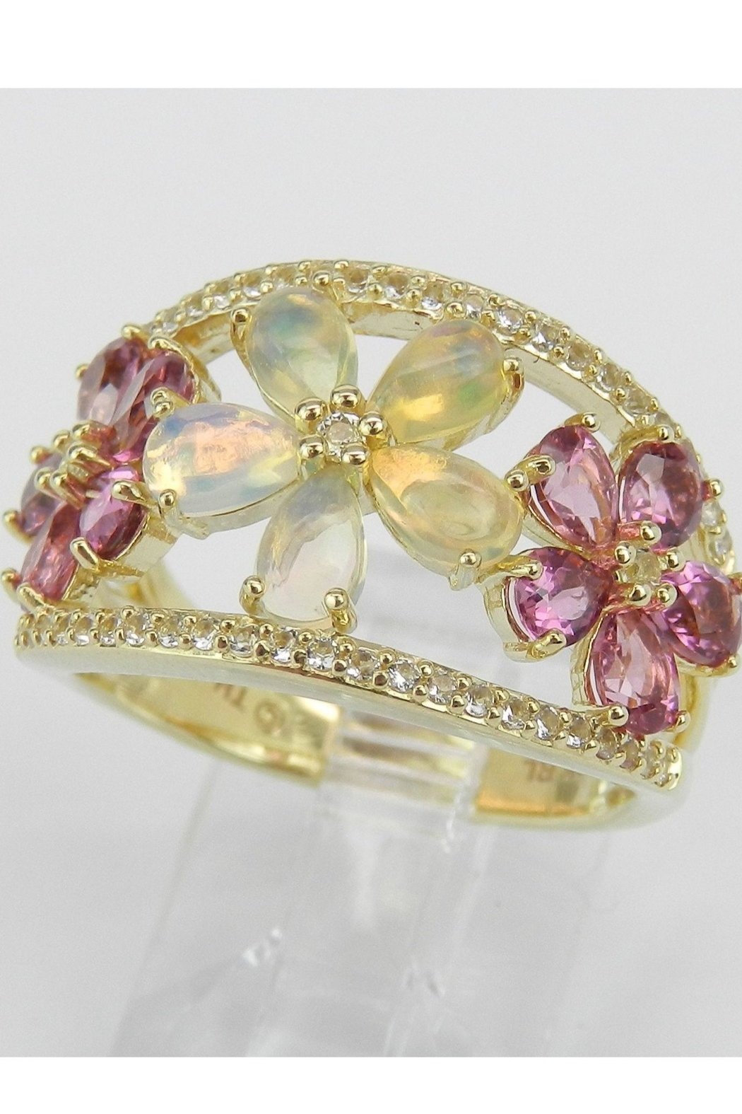 Margolin & Co Yellow Gold Opal Pink Tourmaline White Sapphire Flower Cluster Cocktail Ring Size 7 October Gem - Side Cropped Image