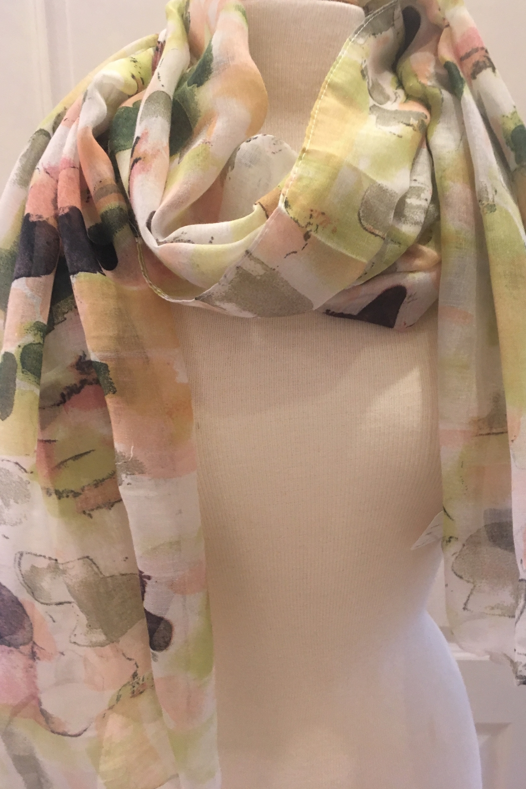 deannas yellow, green, pink scarf - Main Image