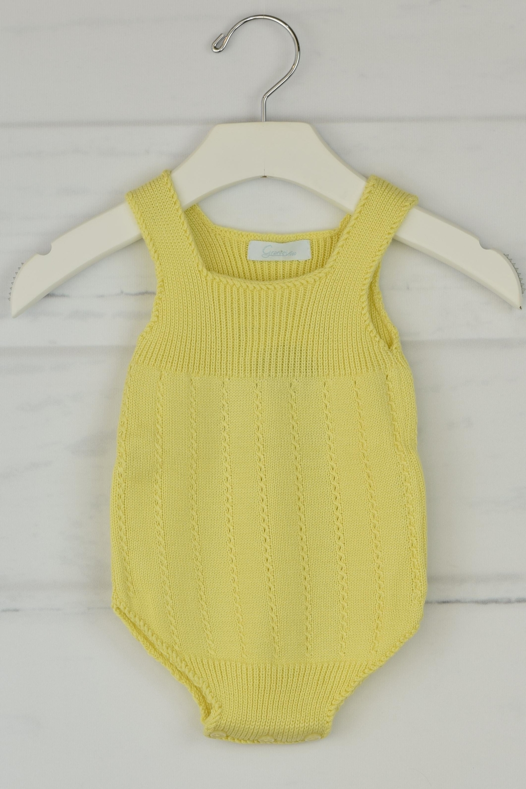 Granlei 1980 Yellow Knitted Onesie - Front Cropped Image