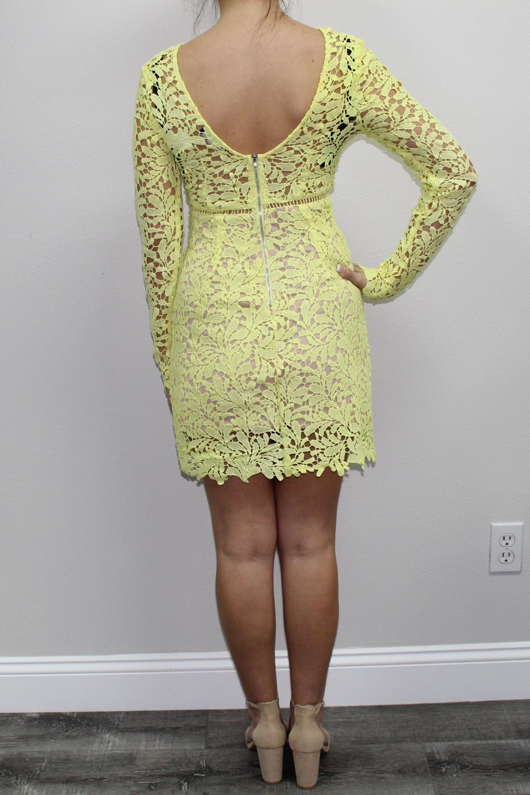 Dress Code Yellow Lace Dress - Front Full Image