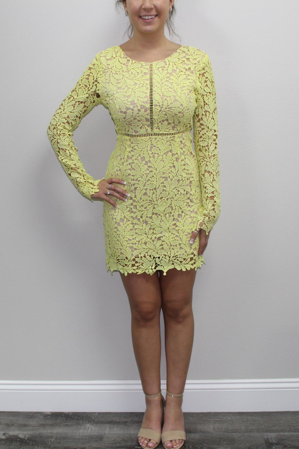 Dress Code Yellow Lace Dress - Main Image