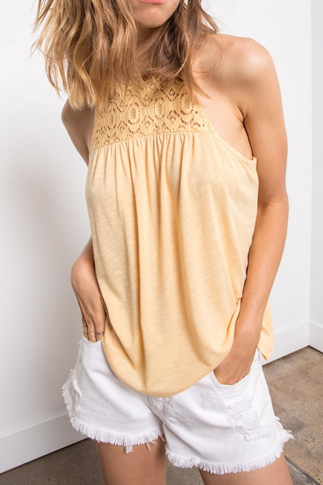 Others Follow  Yellow Lace Tank - Front Cropped Image