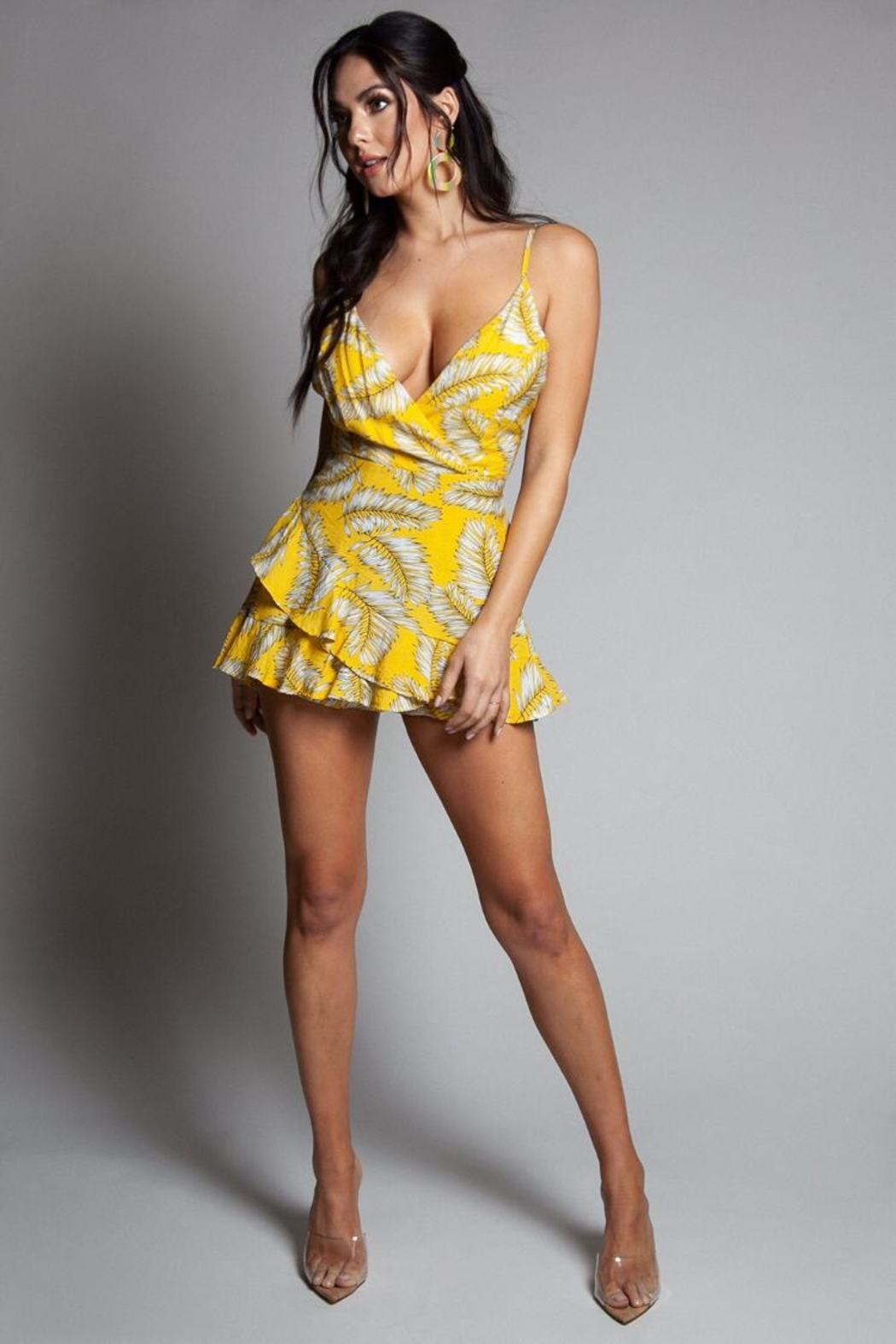 Latiste Yellow Leaf-Print Mini-Dress - Front Cropped Image