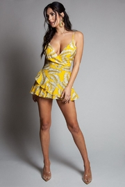 Latiste Yellow Leaf-Print Mini-Dress - Front cropped