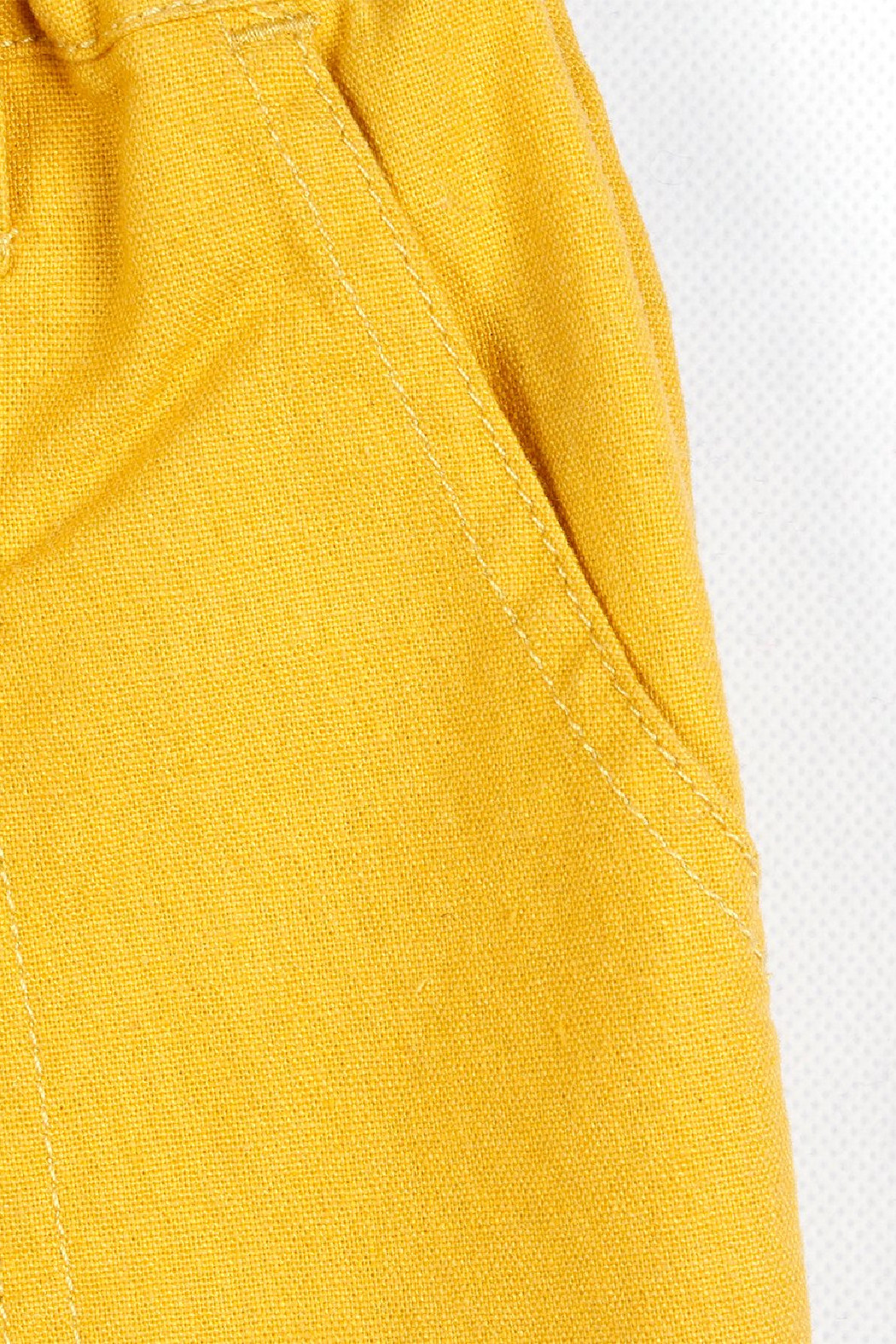 Bitz Kids  Yellow Linen Roll-up Pants - Side Cropped Image