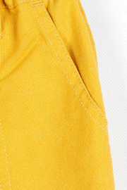 Bitz Kids  Yellow Linen Roll-up Pants - Side cropped